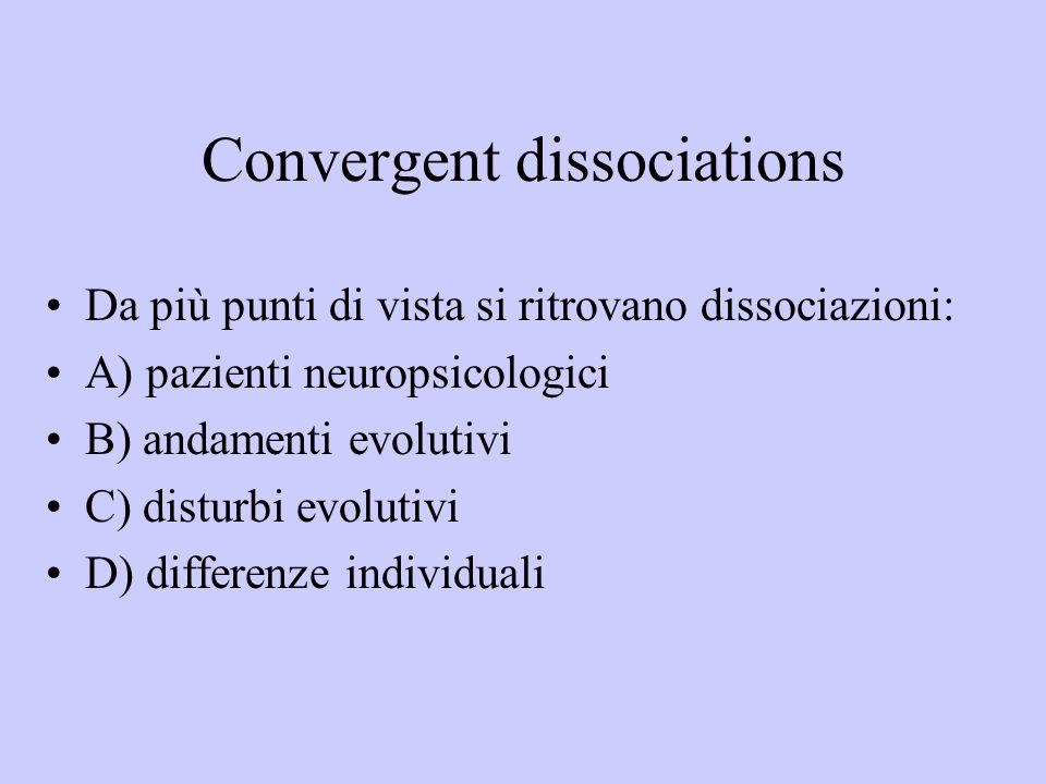 Convergent dissociations Da più punti di vista si ritrovano dissociazioni: A) pazienti neuropsicologici B) andamenti evolutivi C) disturbi evolutivi D