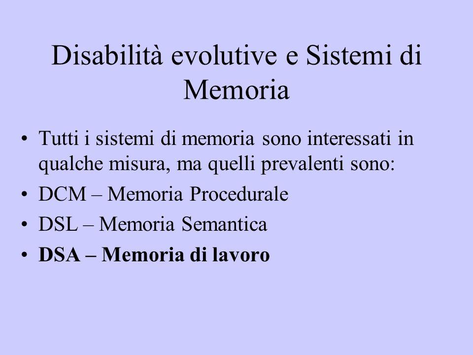 Disabilità evolutive e Sistemi di Memoria Tutti i sistemi di memoria sono interessati in qualche misura, ma quelli prevalenti sono: DCM – Memoria Proc