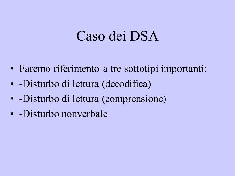 Caso dei DSA Faremo riferimento a tre sottotipi importanti: -Disturbo di lettura (decodifica) -Disturbo di lettura (comprensione) -Disturbo nonverbale