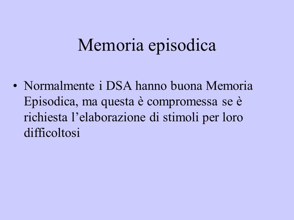 Memoria episodica Normalmente i DSA hanno buona Memoria Episodica, ma questa è compromessa se è richiesta lelaborazione di stimoli per loro difficolto