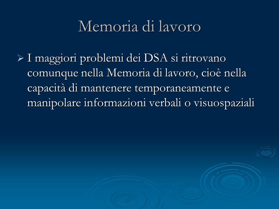 Memoria di lavoro I maggiori problemi dei DSA si ritrovano comunque nella Memoria di lavoro, cioè nella capacità di mantenere temporaneamente e manipo