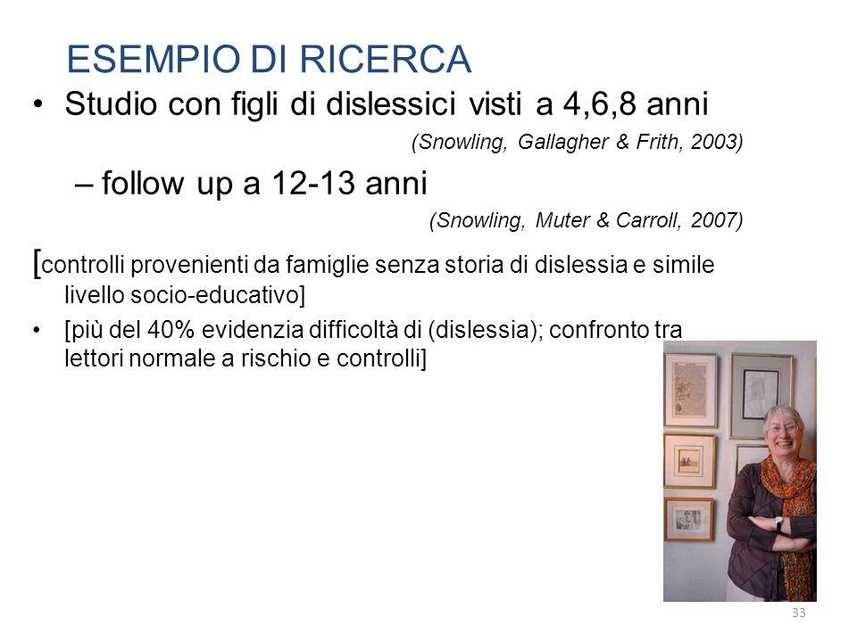 ESEMPIO DI RICERCA Studio con figli di dislessici visti a 4,6,8 anni (Snowling, Gallagher & Frith, 2003) –follow up a 12-13 anni (Snowling, Muter & Ca