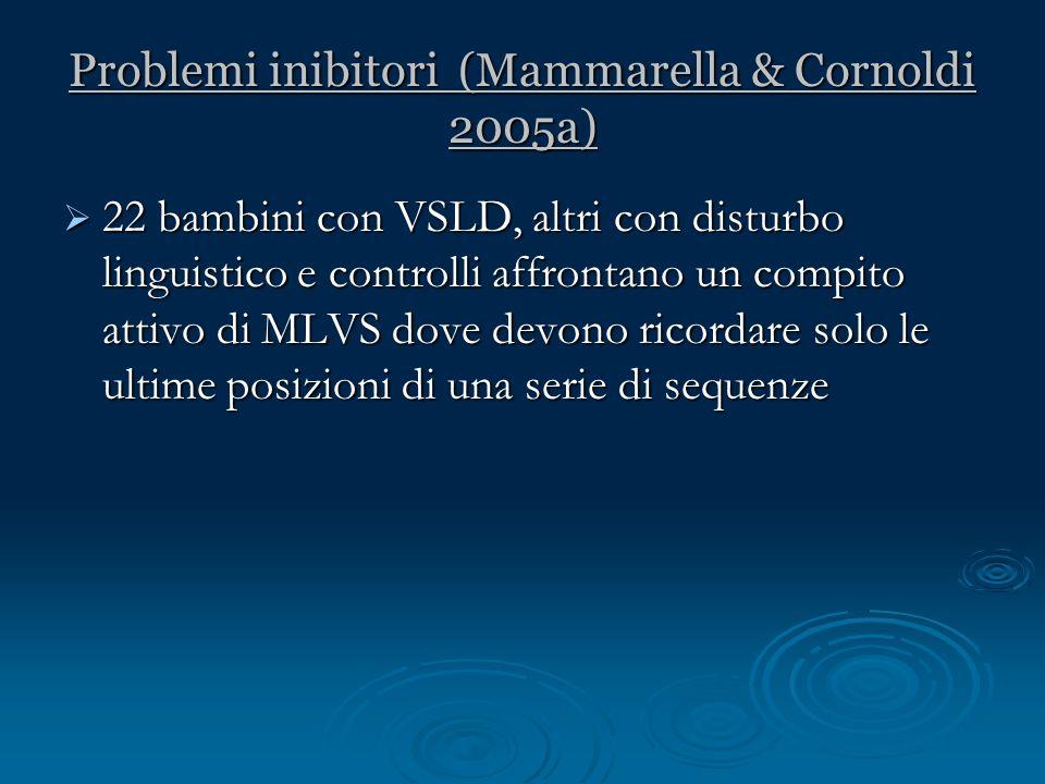 Problemi inibitori (Mammarella & Cornoldi 2005a) 22 bambini con VSLD, altri con disturbo linguistico e controlli affrontano un compito attivo di MLVS
