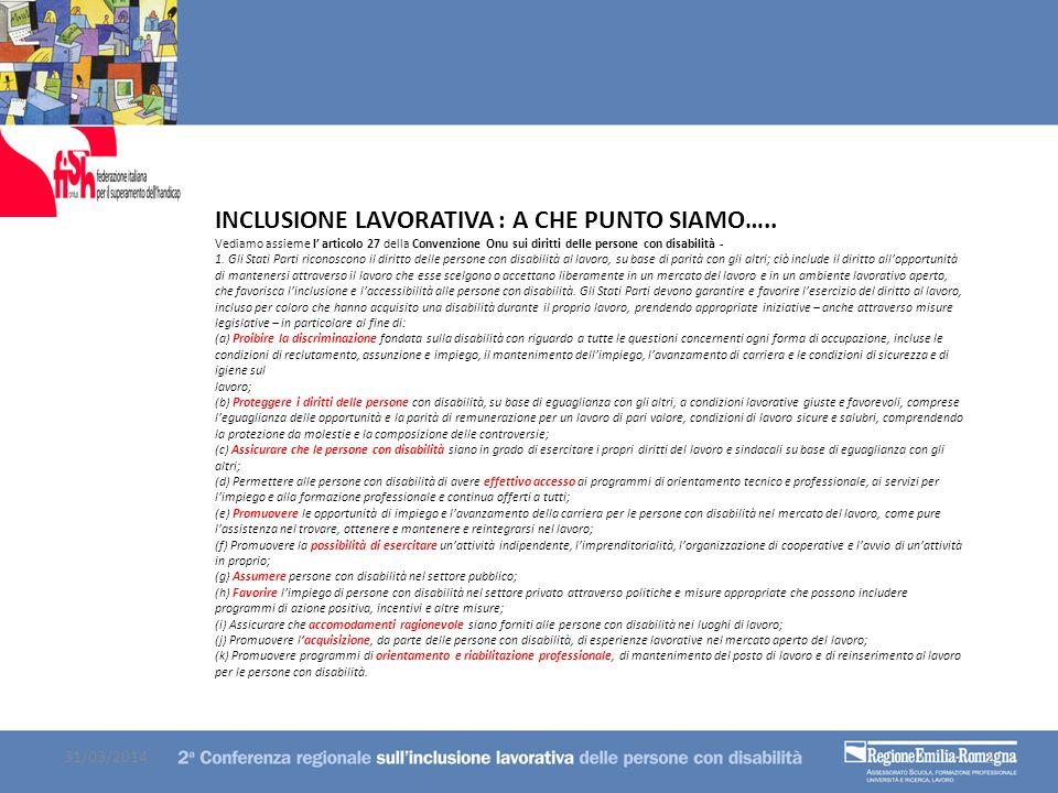 INCLUSIONE LAVORATIVA : A CHE PUNTO SIAMO….. Vediamo assieme l articolo 27 della Convenzione Onu sui diritti delle persone con disabilità - 1. Gli Sta