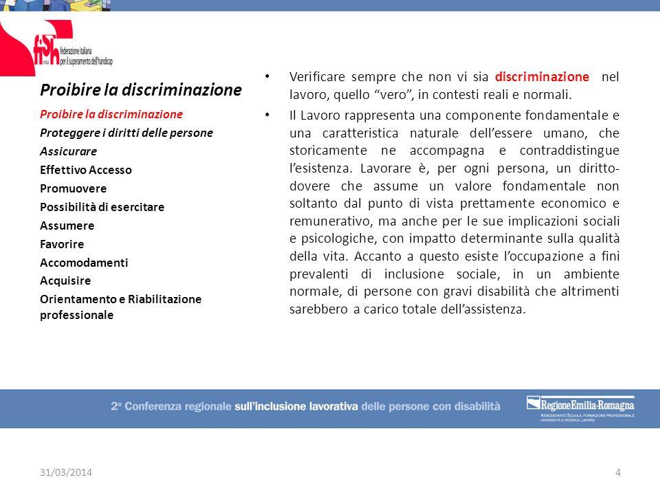 Proibire la discriminazione Verificare sempre che non vi sia discriminazione nel lavoro, quello vero, in contesti reali e normali. Il Lavoro rappresen