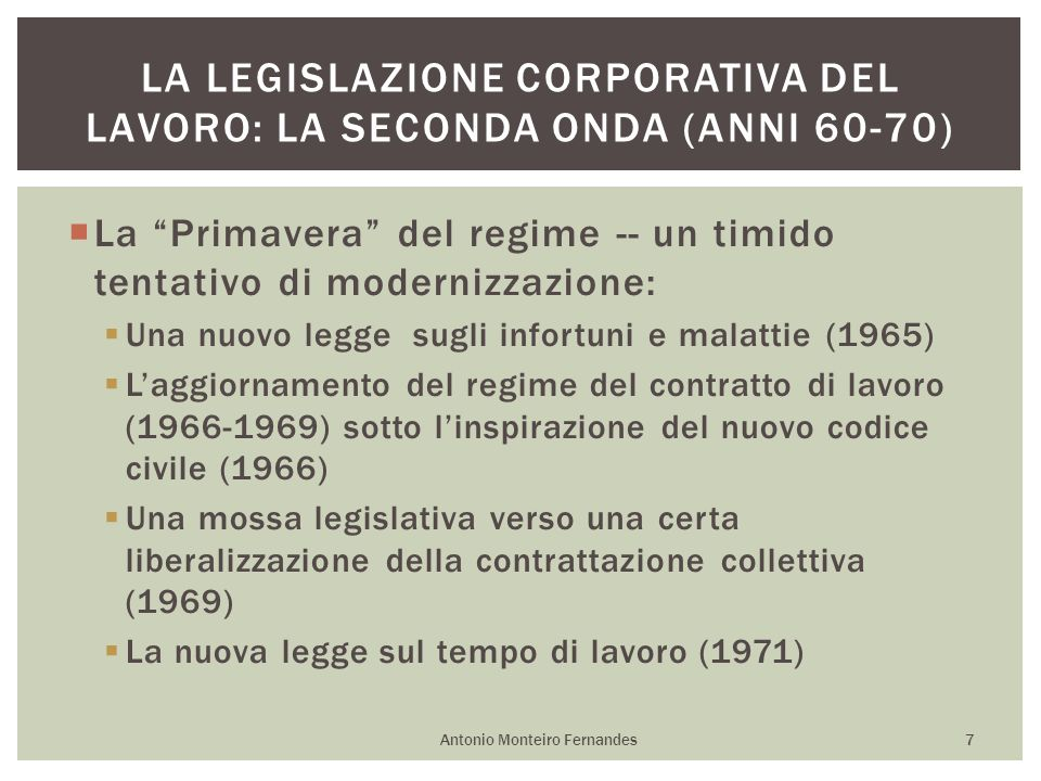 La Primavera del regime -- un timido tentativo di modernizzazione: Una nuovo legge sugli infortuni e malattie (1965) Laggiornamento del regime del con