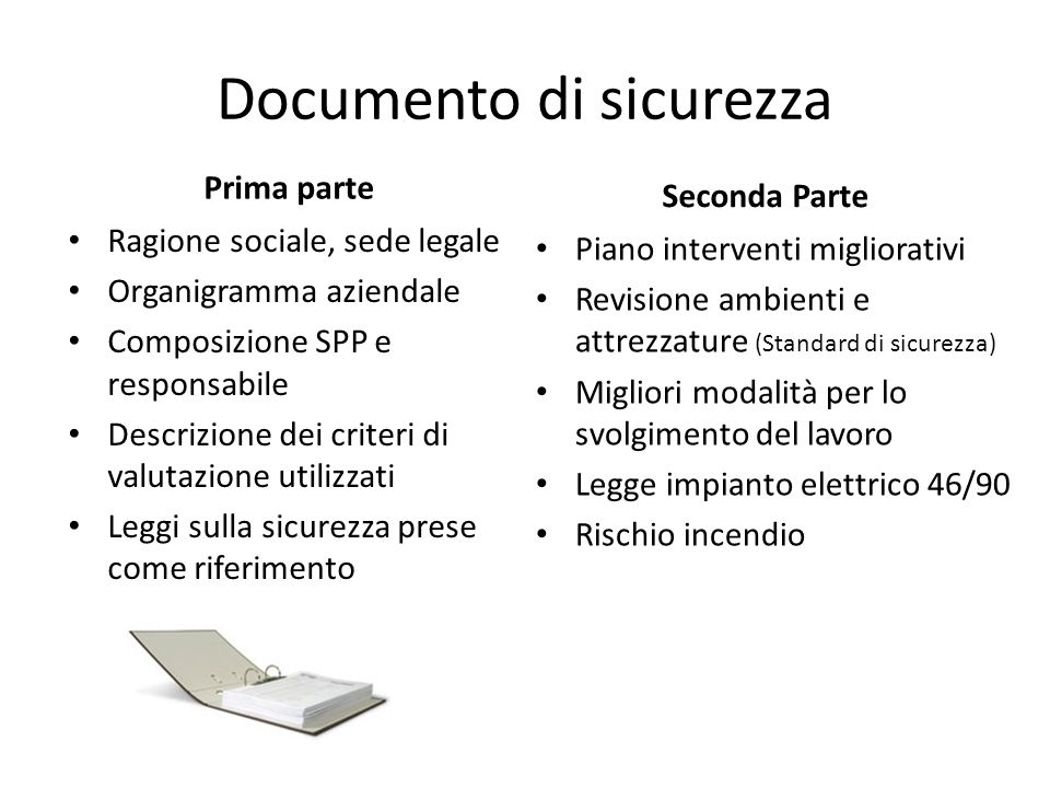 Documento di sicurezza Prima parte Ragione sociale, sede legale Organigramma aziendale Composizione SPP e responsabile Descrizione dei criteri di valu