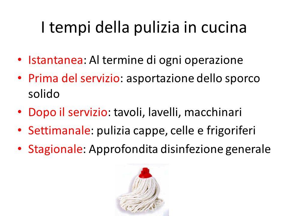 I tempi della pulizia in cucina Istantanea: Al termine di ogni operazione Prima del servizio: asportazione dello sporco solido Dopo il servizio: tavol