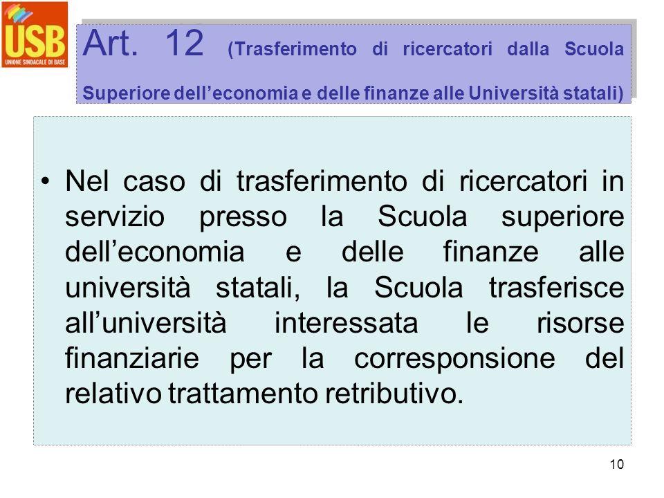 10 Art. 12 (Trasferimento di ricercatori dalla Scuola Superiore delleconomia e delle finanze alle Università statali) Nel caso di trasferimento di ric