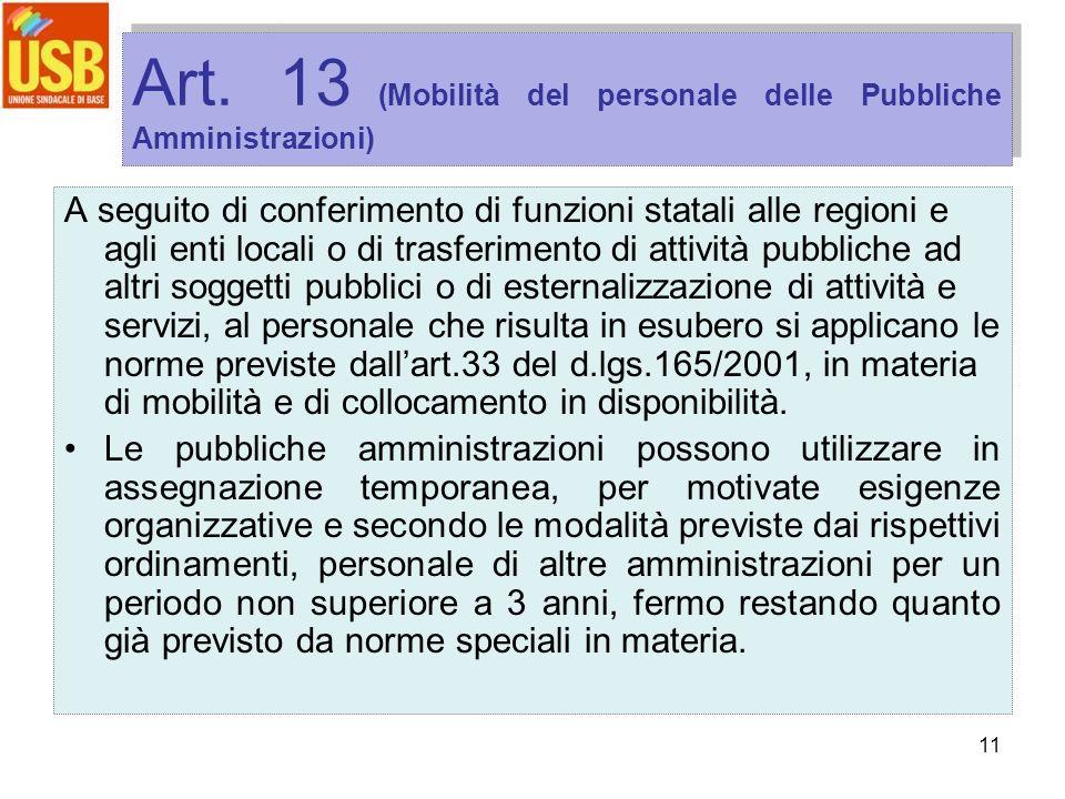 11 Art. 13 (Mobilità del personale delle Pubbliche Amministrazioni) A seguito di conferimento di funzioni statali alle regioni e agli enti locali o di