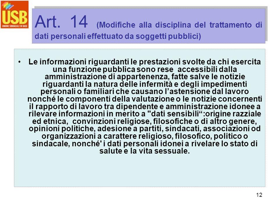 12 Art. 14 (Modifiche alla disciplina del trattamento di dati personali effettuato da soggetti pubblici) Le informazioni riguardanti le prestazioni sv