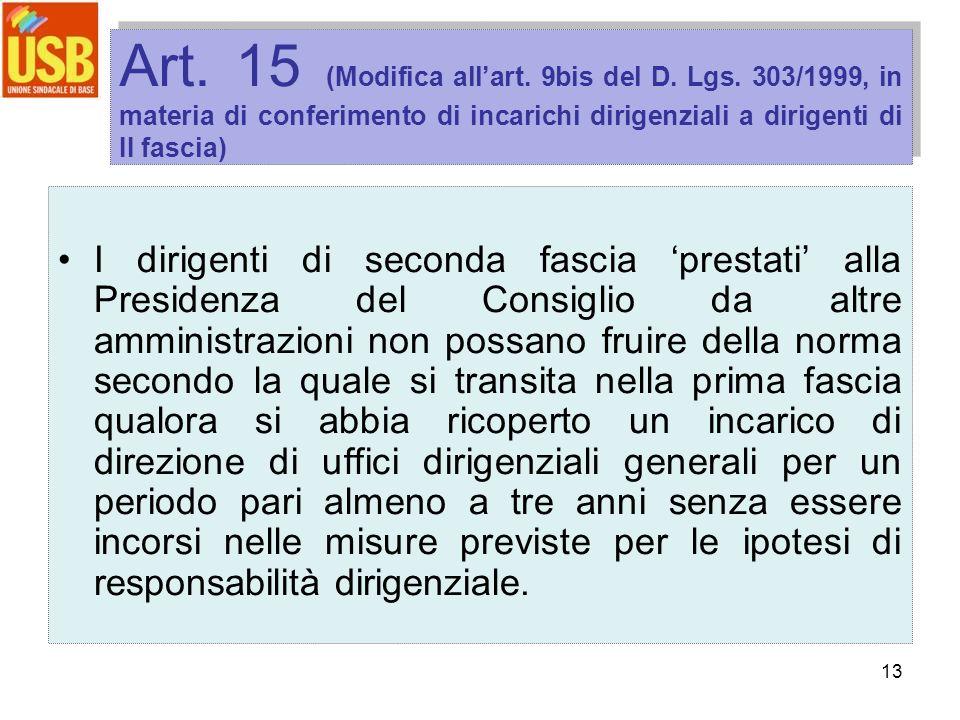 13 Art. 15 (Modifica allart. 9bis del D. Lgs. 303/1999, in materia di conferimento di incarichi dirigenziali a dirigenti di II fascia) I dirigenti di