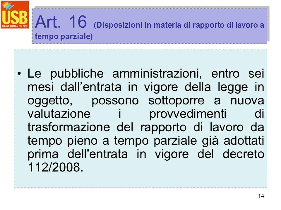 14 Art. 16 (Disposizioni in materia di rapporto di lavoro a tempo parziale) Le pubbliche amministrazioni, entro sei mesi dallentrata in vigore della l