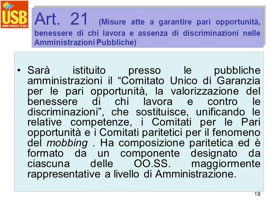 19 Art. 21 (Misure atte a garantire pari opportunità, benessere di chi lavora e assenza di discriminazioni nelle Amministrazioni Pubbliche) Sarà istit