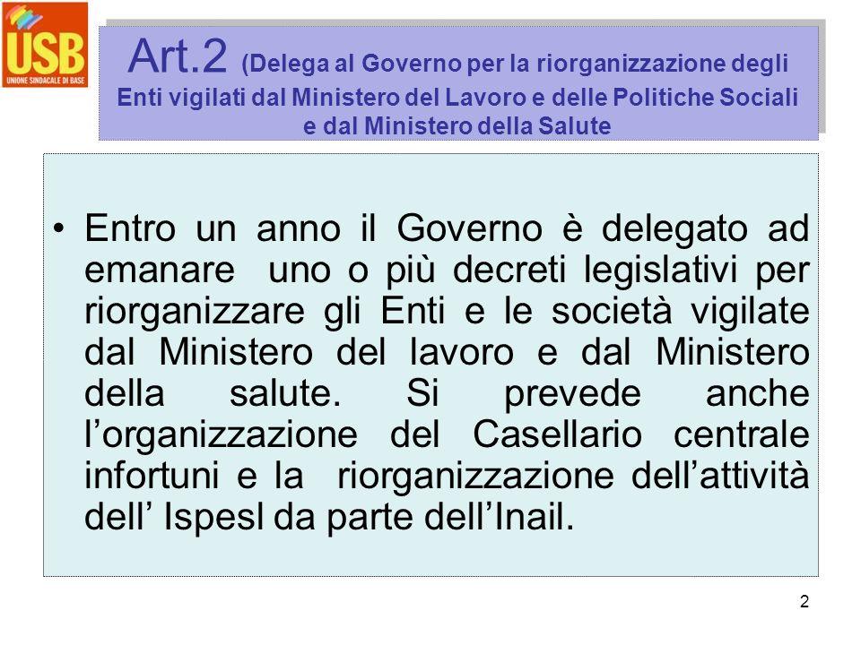 2 Art.2 (Delega al Governo per la riorganizzazione degli Enti vigilati dal Ministero del Lavoro e delle Politiche Sociali e dal Ministero della Salute