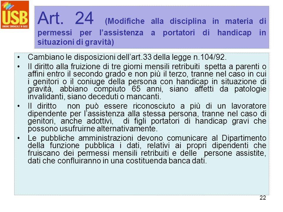 22 Art. 24 (Modifiche alla disciplina in materia di permessi per lassistenza a portatori di handicap in situazioni di gravità) Cambiano le disposizion