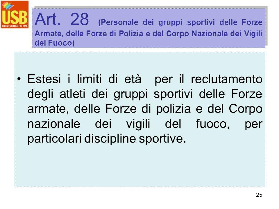 25 Art. 28 (Personale dei gruppi sportivi delle Forze Armate, delle Forze di Polizia e del Corpo Nazionale dei Vigili del Fuoco) Estesi i limiti di et