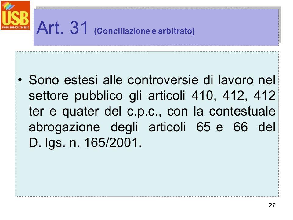 27 Art. 31 (Conciliazione e arbitrato) Sono estesi alle controversie di lavoro nel settore pubblico gli articoli 410, 412, 412 ter e quater del c.p.c.