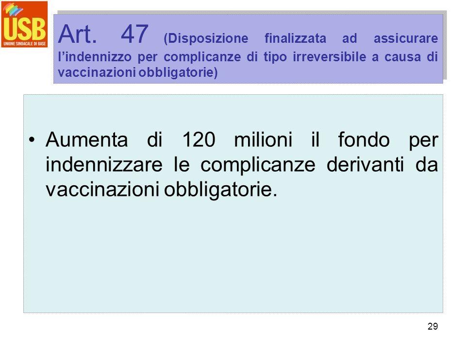29 Art. 47 (Disposizione finalizzata ad assicurare lindennizzo per complicanze di tipo irreversibile a causa di vaccinazioni obbligatorie) Aumenta di