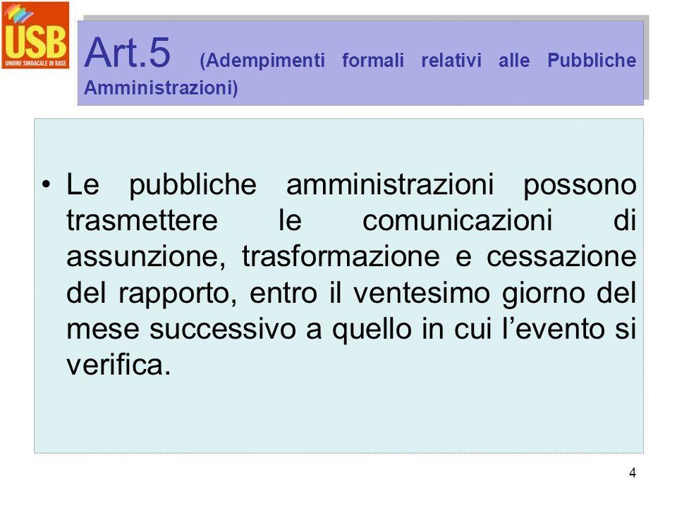 4 Art.5 (Adempimenti formali relativi alle Pubbliche Amministrazioni) Le pubbliche amministrazioni possono trasmettere le comunicazioni di assunzione,