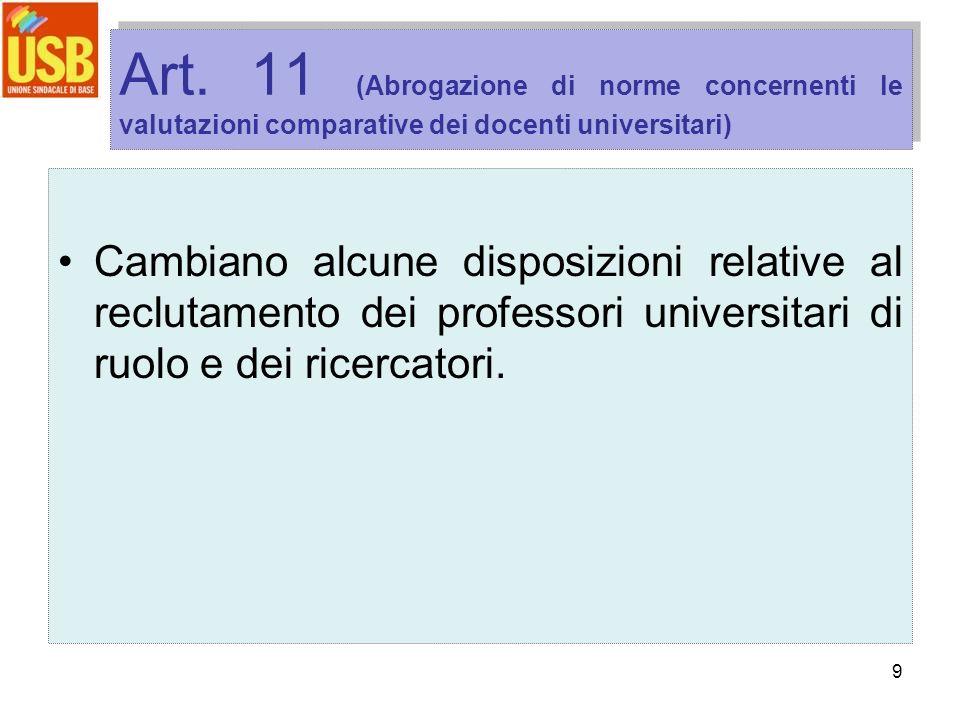 9 Art. 11 (Abrogazione di norme concernenti le valutazioni comparative dei docenti universitari) Cambiano alcune disposizioni relative al reclutamento