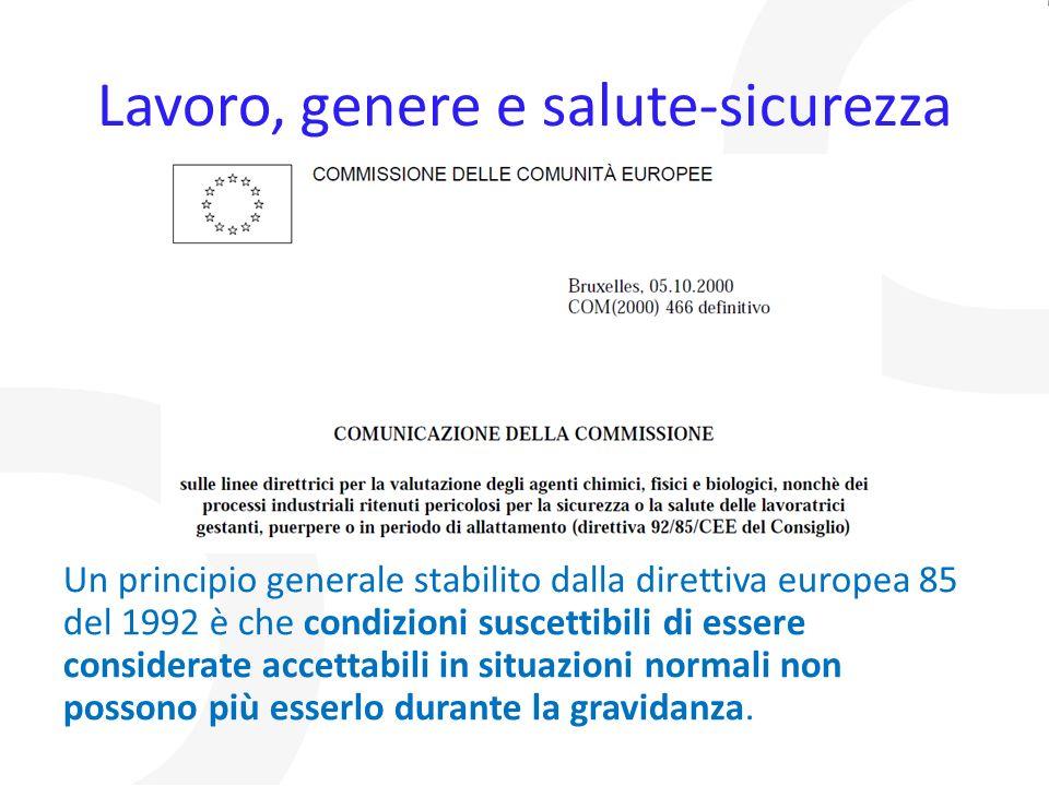 Lavoro, genere e salute-sicurezza Un principio generale stabilito dalla direttiva europea 85 del 1992 è che condizioni suscettibili di essere consider