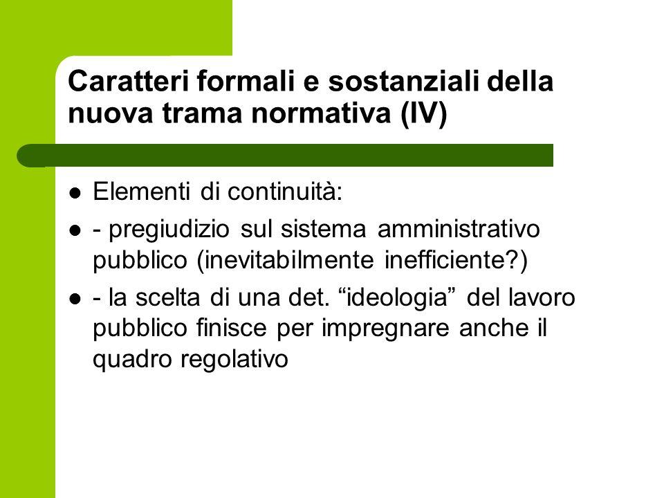 Caratteri formali e sostanziali della nuova trama normativa (IV) Elementi di continuità: - pregiudizio sul sistema amministrativo pubblico (inevitabil