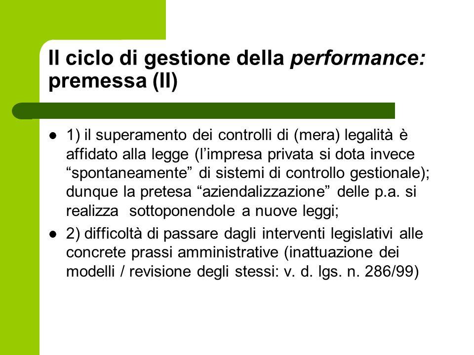 Il ciclo di gestione della performance: premessa (II) 1) il superamento dei controlli di (mera) legalità è affidato alla legge (limpresa privata si do