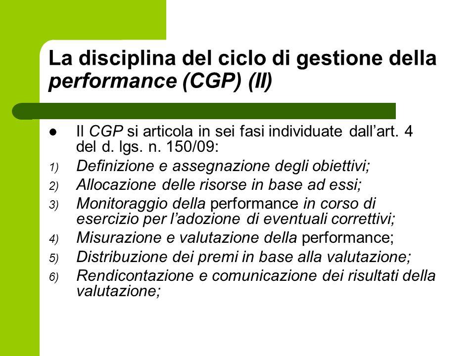 La disciplina del ciclo di gestione della performance (CGP) (II) Il CGP si articola in sei fasi individuate dallart. 4 del d. lgs. n. 150/09: 1) Defin