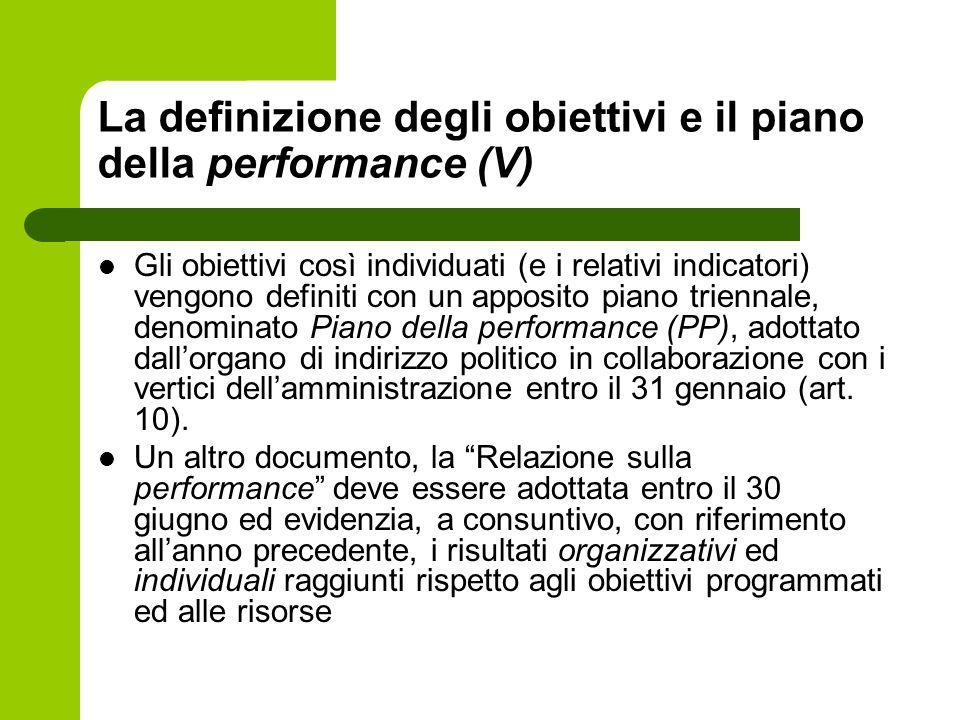 La definizione degli obiettivi e il piano della performance (V) Gli obiettivi così individuati (e i relativi indicatori) vengono definiti con un appos