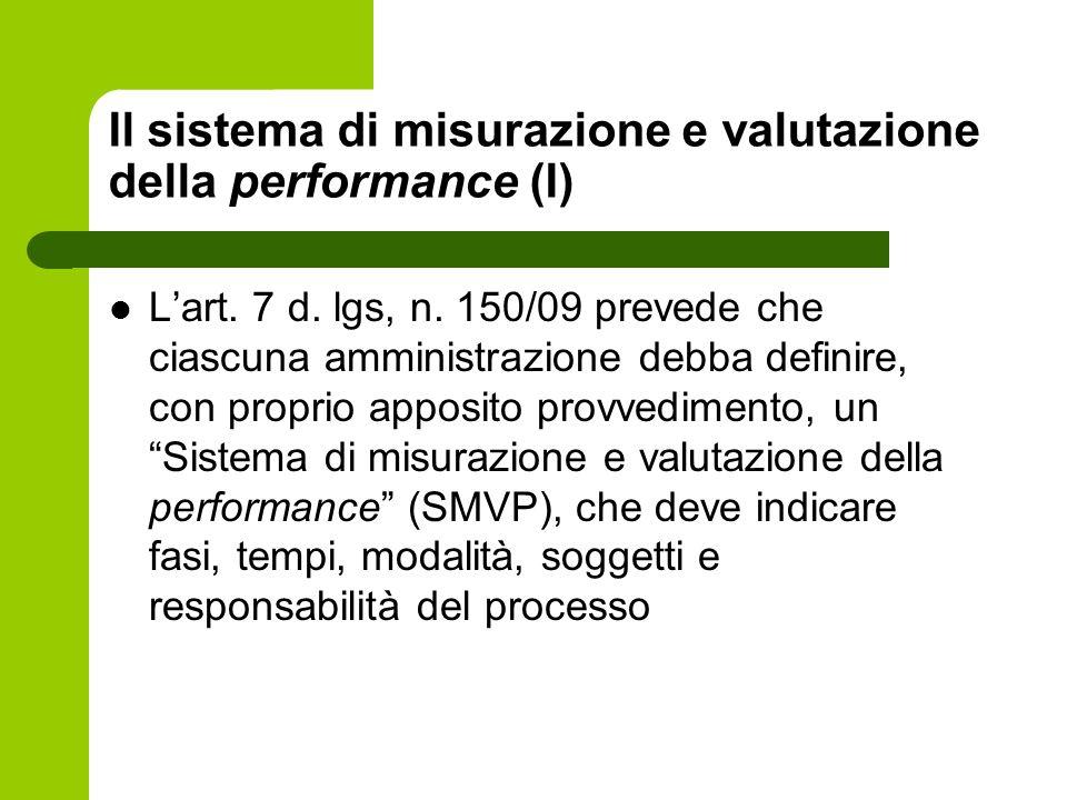Il sistema di misurazione e valutazione della performance (I) Lart. 7 d. lgs, n. 150/09 prevede che ciascuna amministrazione debba definire, con propr