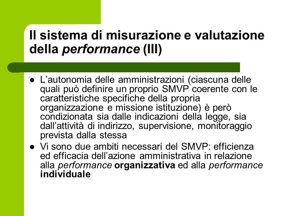 Il sistema di misurazione e valutazione della performance (III) Lautonomia delle amministrazioni (ciascuna delle quali può definire un proprio SMVP co