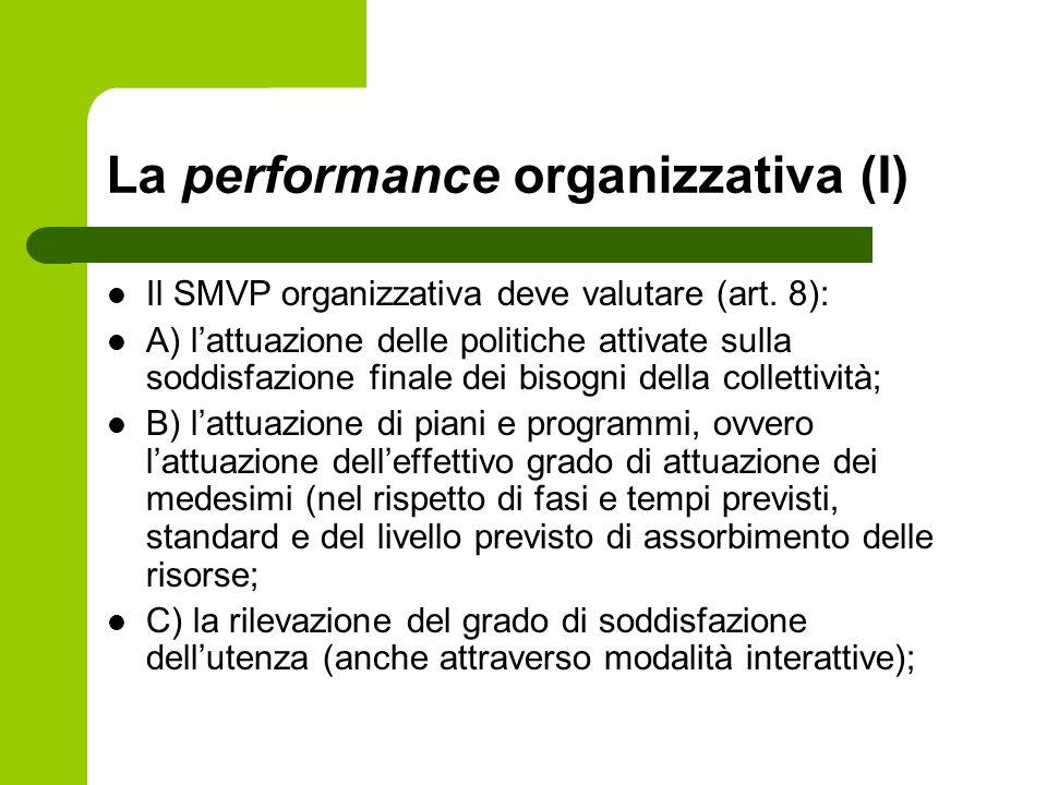 La performance organizzativa (I) Il SMVP organizzativa deve valutare (art. 8): A) lattuazione delle politiche attivate sulla soddisfazione finale dei