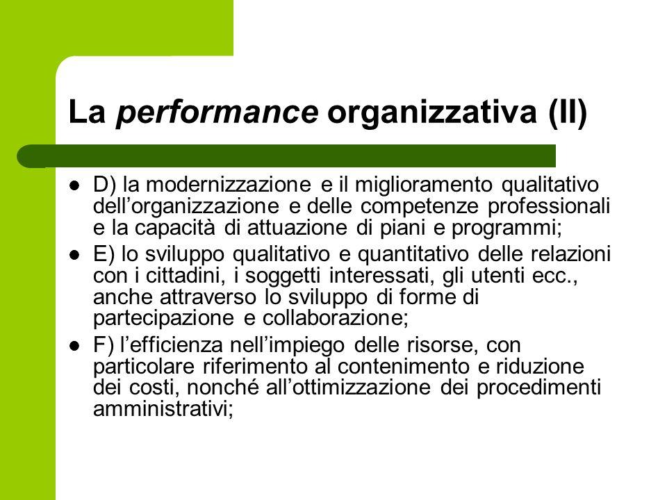 La performance organizzativa (II) D) la modernizzazione e il miglioramento qualitativo dellorganizzazione e delle competenze professionali e la capaci