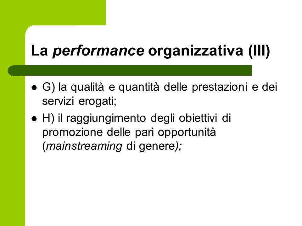 La performance organizzativa (III) G) la qualità e quantità delle prestazioni e dei servizi erogati; H) il raggiungimento degli obiettivi di promozion