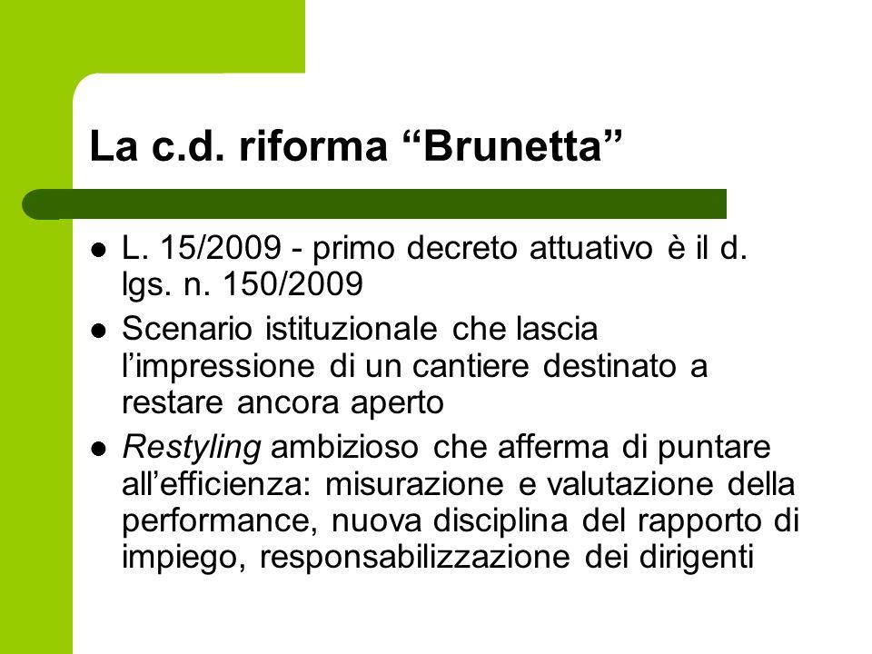 La c.d. riforma Brunetta L. 15/2009 - primo decreto attuativo è il d. lgs. n. 150/2009 Scenario istituzionale che lascia limpressione di un cantiere d