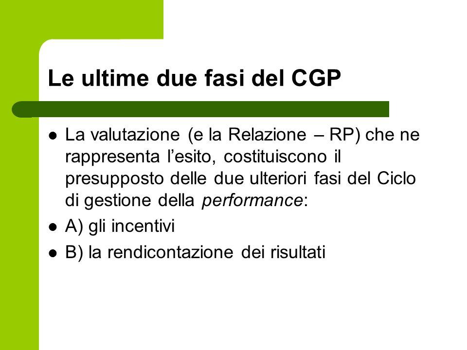 Le ultime due fasi del CGP La valutazione (e la Relazione – RP) che ne rappresenta lesito, costituiscono il presupposto delle due ulteriori fasi del C