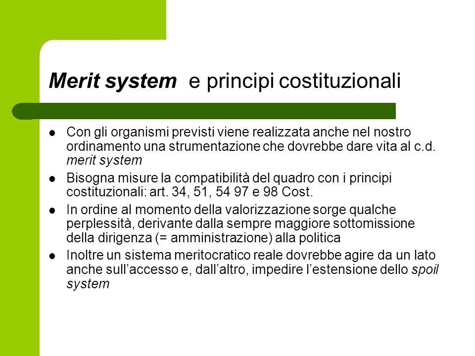 Merit system e principi costituzionali Con gli organismi previsti viene realizzata anche nel nostro ordinamento una strumentazione che dovrebbe dare v
