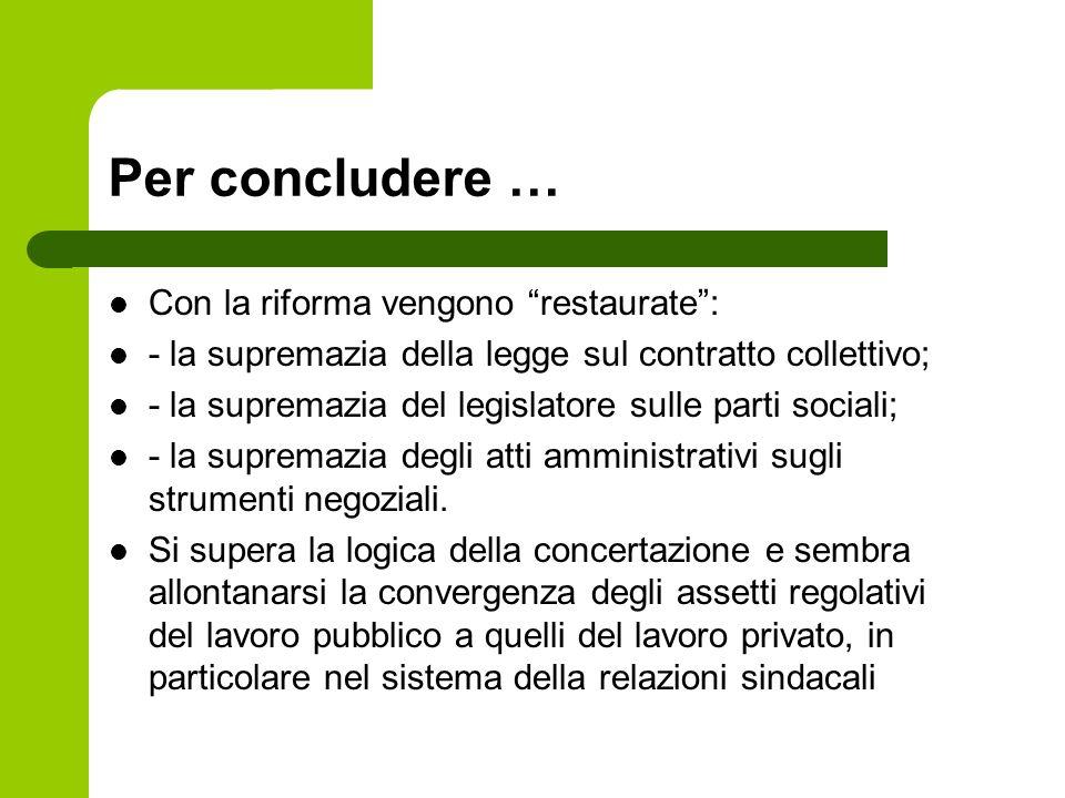 Per concludere … Con la riforma vengono restaurate: - la supremazia della legge sul contratto collettivo; - la supremazia del legislatore sulle parti