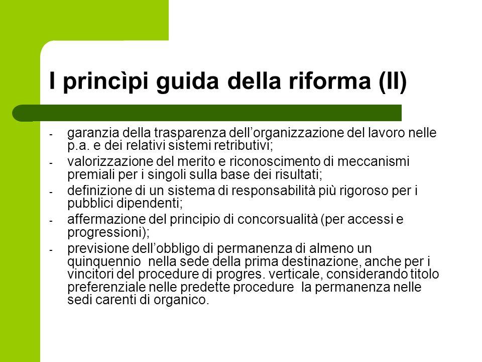 I princìpi guida della riforma (II) - garanzia della trasparenza dellorganizzazione del lavoro nelle p.a. e dei relativi sistemi retributivi; - valori