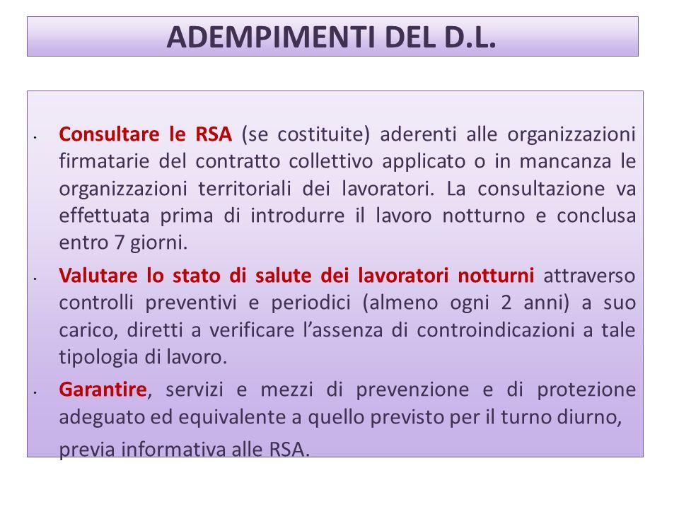 ADEMPIMENTI DEL D.L. Consultare le RSA (se costituite) aderenti alle organizzazioni firmatarie del contratto collettivo applicato o in mancanza le org