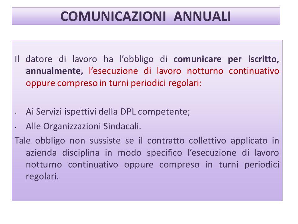 COMUNICAZIONI ANNUALI Il datore di lavoro ha lobbligo di comunicare per iscritto, annualmente, lesecuzione di lavoro notturno continuativo oppure comp
