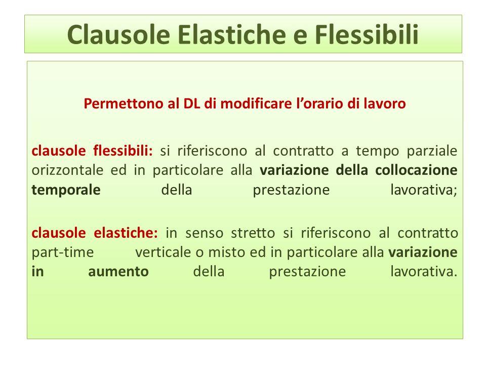 Clausole Elastiche e Flessibili Permettono al DL di modificare lorario di lavoro clausole flessibili: si riferiscono al contratto a tempo parziale ori