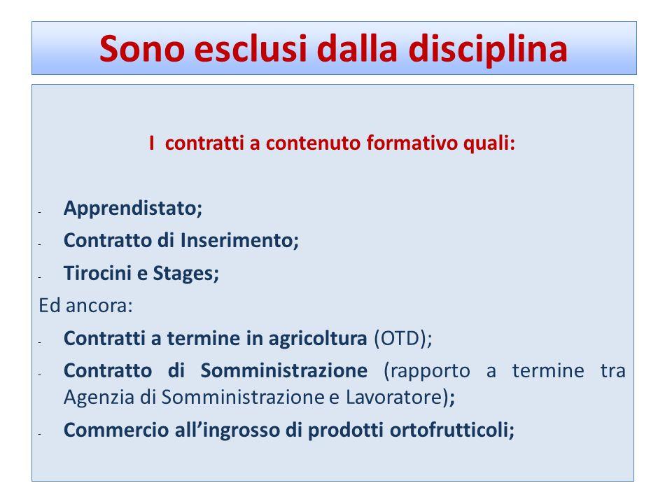 Sono esclusi dalla disciplina I contratti a contenuto formativo quali: - Apprendistato; - Contratto di Inserimento; - Tirocini e Stages; Ed ancora: -
