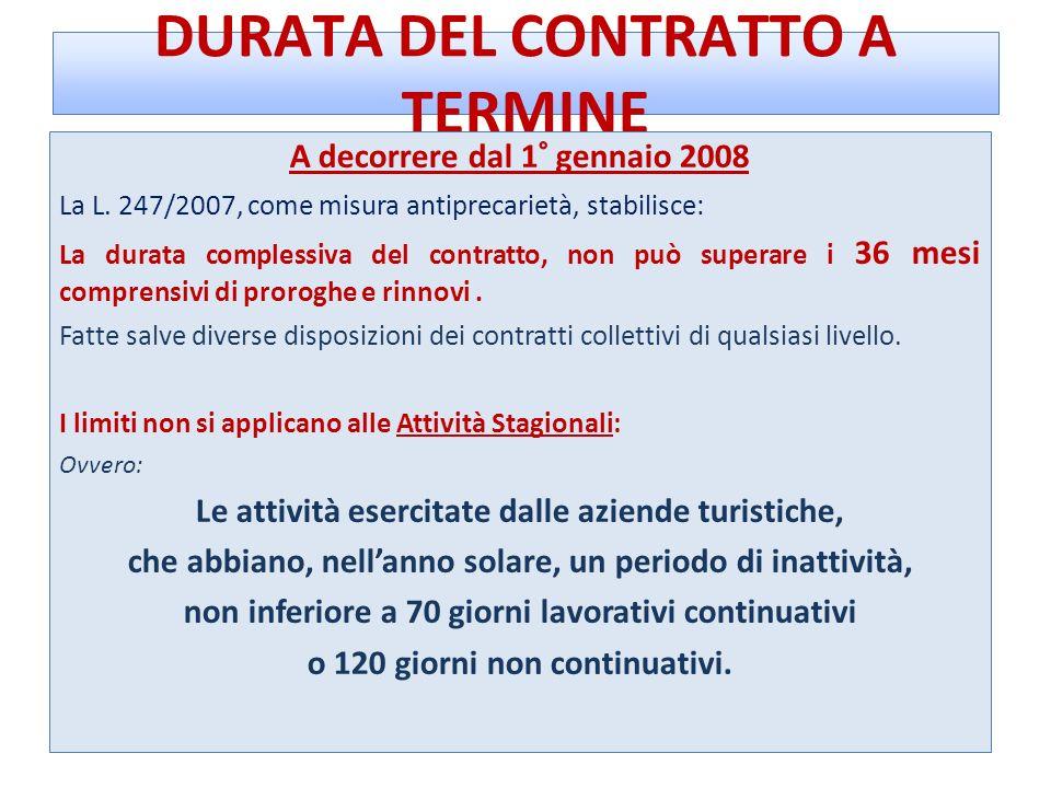 DURATA DEL CONTRATTO A TERMINE A decorrere dal 1° gennaio 2008 La L. 247/2007, come misura antiprecarietà, stabilisce: La durata complessiva del contr
