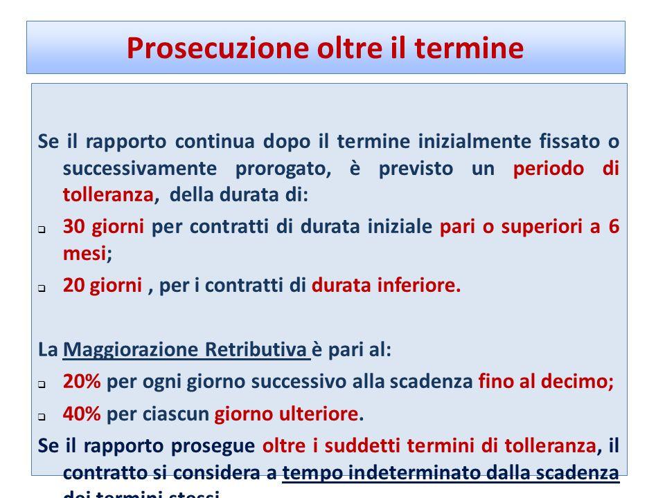 Prosecuzione oltre il termine Se il rapporto continua dopo il termine inizialmente fissato o successivamente prorogato, è previsto un periodo di tolle