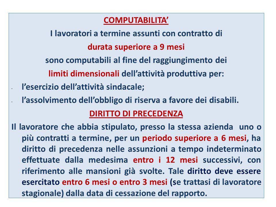 COMPUTABILITA I lavoratori a termine assunti con contratto di durata superiore a 9 mesi sono computabili al fine del raggiungimento dei limiti dimensi