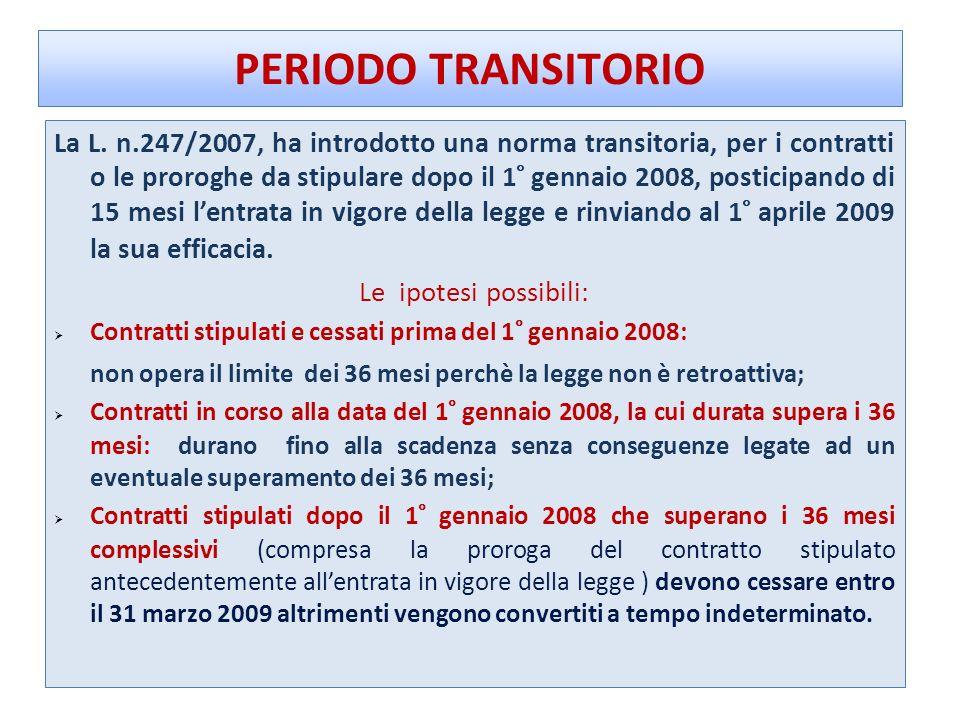 PERIODO TRANSITORIO La L. n.247/2007, ha introdotto una norma transitoria, per i contratti o le proroghe da stipulare dopo il 1° gennaio 2008, postici
