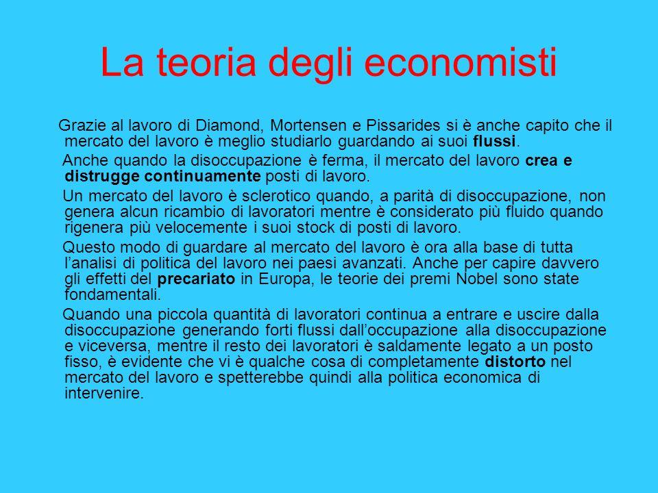 La teoria degli economisti Grazie al lavoro di Diamond, Mortensen e Pissarides si è anche capito che il mercato del lavoro è meglio studiarlo guardand