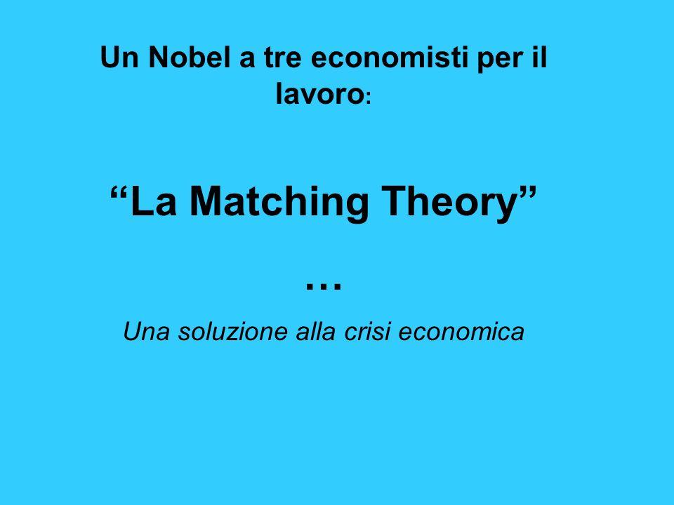 Un Nobel a tre economisti per il lavoro : La Matching Theory … Una soluzione alla crisi economica